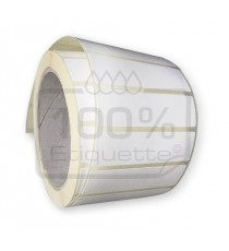 Etiquettes à imprimer 80x60mm / Papier blanc brillant / Bobine échenillée de 1000 étiquettes GS