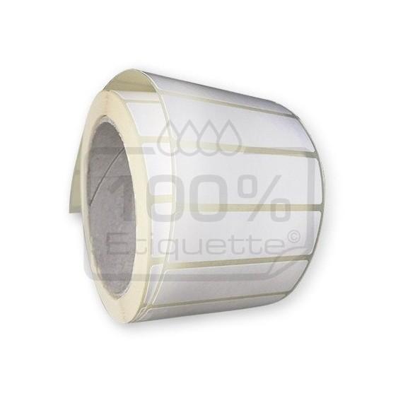 Etiquettes double découpe ronde 64 mm / Polypro blanc / Bobine de 1000 étiquettes
