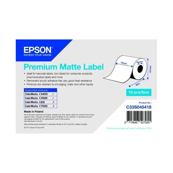 EPSON Rouleau Adhesif Continu Premium Matte 76X35mm pour TM-C3400